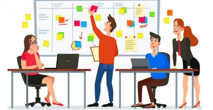 Scrum board meeting. Business team planning tasks, office workers conference and workflow plan flowchart. Software planning, engineering strategy process or development cartoon vector illustration